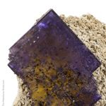 Fluorite with Barite (Petroleum-stained)
