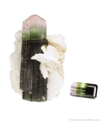 Tourmaline (rough and cut set)