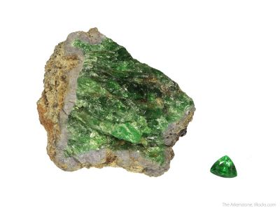 Garnet var. Tsavorite (rough and cut set)