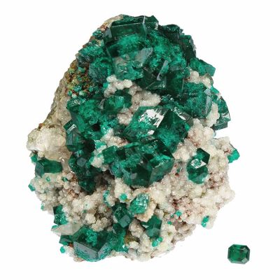 Dioptase (rough and cut set)