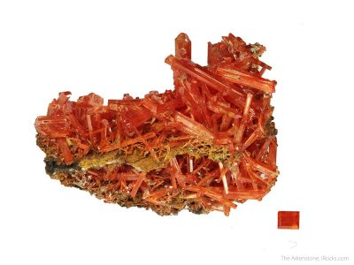 Crocoite (rough and cut set)