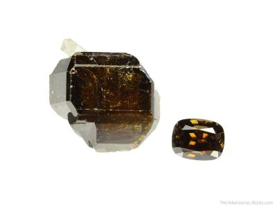 Cassiterite (rough and cut set)