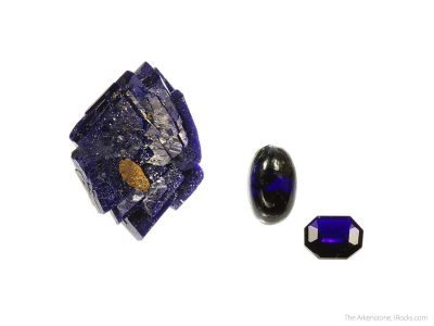 Azurite (3 piece rough and cut set)