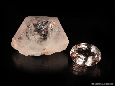 Morganite (rough and cut set)