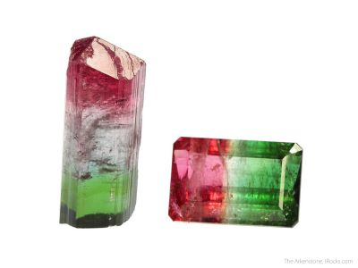 Tourmaline (tricolor) (rough and cut set)