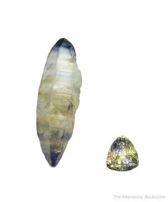 Sapphire (bicolor) (rough and cut set)