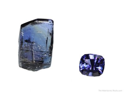 Tanzanite (rough and cut set)