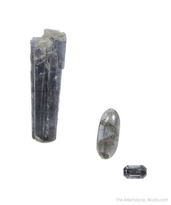 Vesuvianite (3 piece rough and cut set)