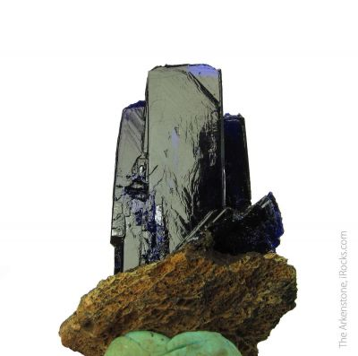 Azurite with Mottramite and Quartz