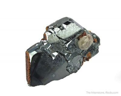 Andradite Garnet on Hematite, with Calcite