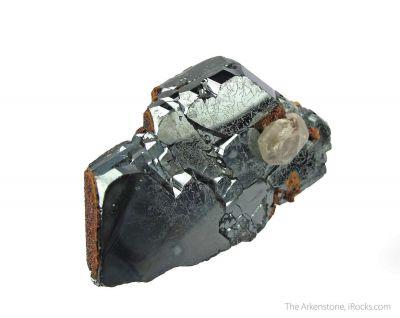 Andradite Garnet on Hematite, with Calcite