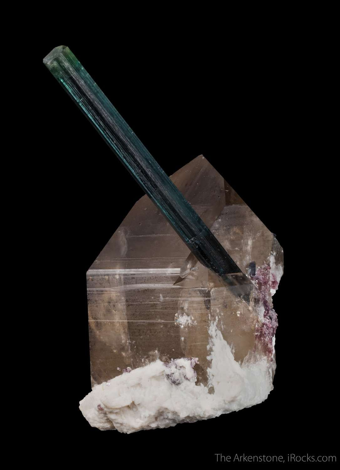 Tourmaline var. Indicolite on Quartz