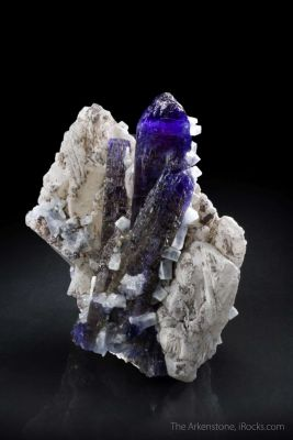 Tanzanite with Prehnite on Calcite