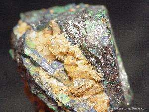 Chalcostibite altering to Azurite and Malachite