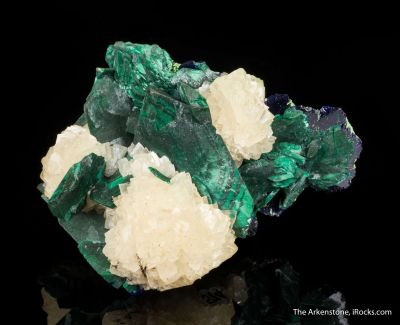 Malachite Pseudomorph after Azurite, with Calcite
