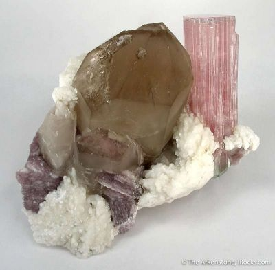 Tourmaline, Smoky Quartz, Lepidolite, Albite