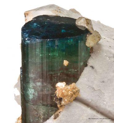 Tourmaline (blue cap) on Quartz