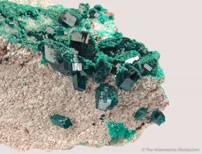 Dioptase on Dolomite with Malachite