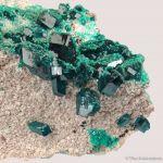 Dioptase on Dolomite with Malachite