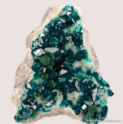 Dioptase and Malachite on Calcite