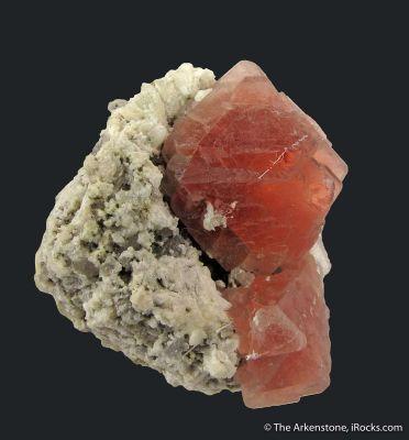 Pink Fluorite on Albite and Quartz