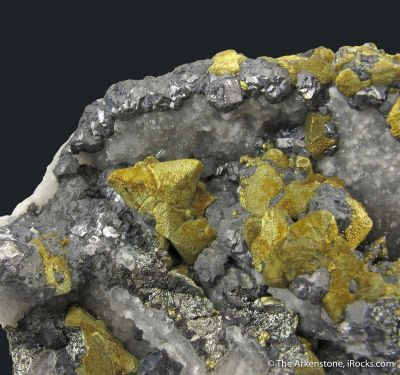Chalcopyrite on Tetrahedrite, Galena, on Quartz ps. Barite (mid-1800s)