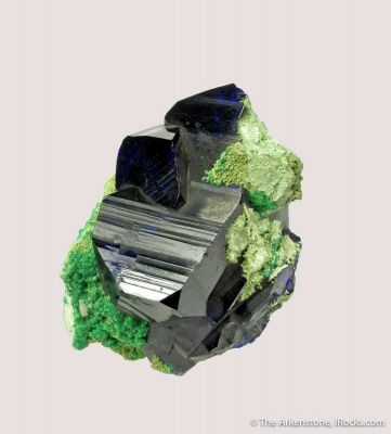 Azurite with Cerussite and Malachite