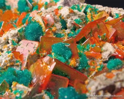 Wulfenite and Dioptase with Mimetite