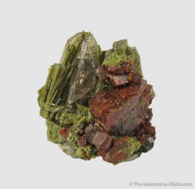 Red Chabazite with Epidote and Quartz
