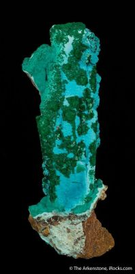 Chrysocolla ps. Gypsum, with Malachite