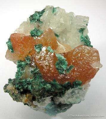 Cerussite (Red), Malachite & Calcite
