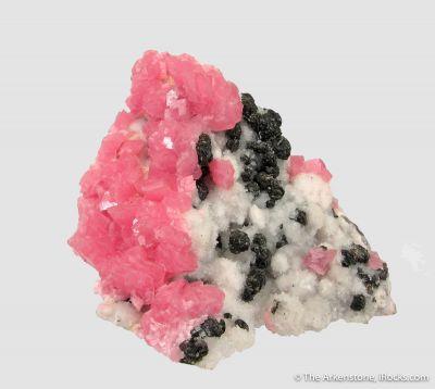 Rhodochrosite and Sphalerite on Quartz
