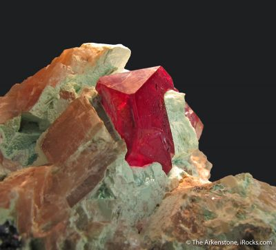 Cuprite and Chrysocolla on Calcite