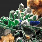 Malachite ps. Azurite with Quartz caps