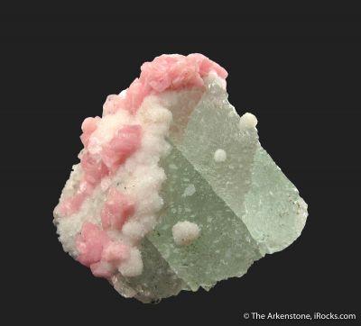 Rhodochrosite and Quartz on Fluorite