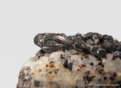 Hessite with Quartz, Sphalerite, and Gold - illustrated