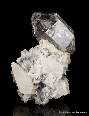 Quartz on Calcite with Anthraxolite (petroleum)