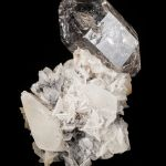 Quartz on Calcite with Anthraxolite (petroleum)