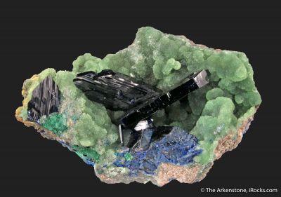 Azurite on Cuprian Smithsonite