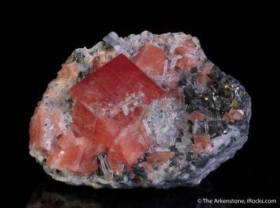 Rhodochrosite on Quartz and Tetrahedrite