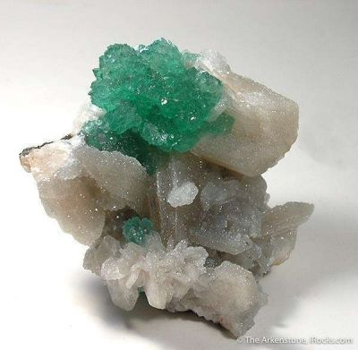 Emerald-Green Apophyllite and Quartz on Stilbite