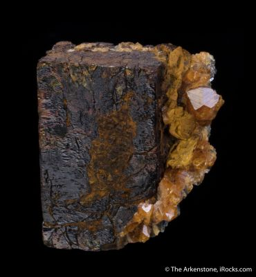 Limonite Pseudomorph after Pyrite, with Spessartine