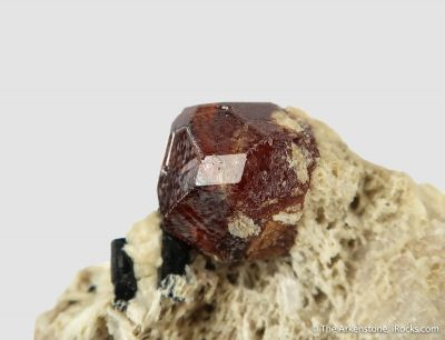 Spessartine and Schorl on Feldspar