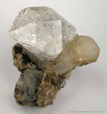Quartz Var. Herkimer Diamond on Calcite