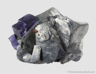 Fluorite on Galena, with Sphalerite and Chalcopyrite
