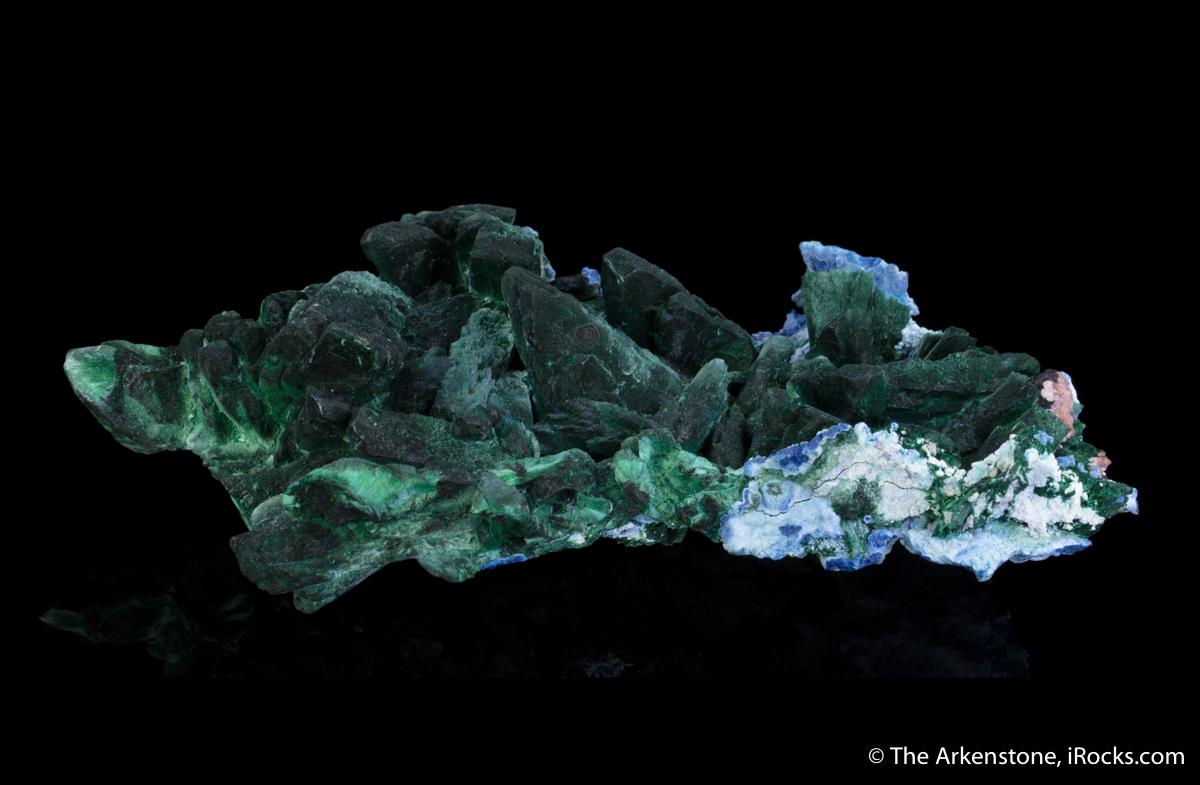 Malachite after Azurite, Plancheite