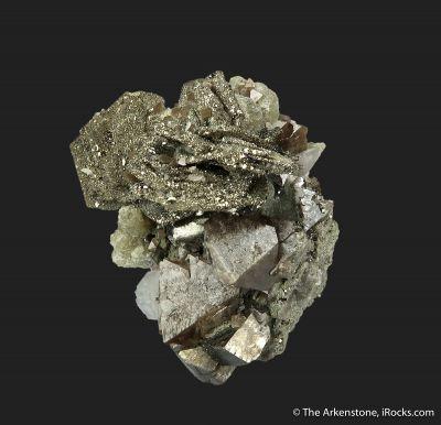 Pyrite ps. Pyrrhotite on Scheelite (fl)