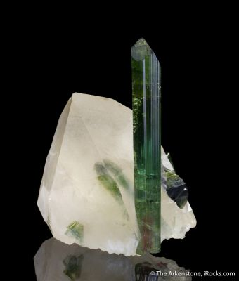 Elbaite Tourmaline, on Quartz