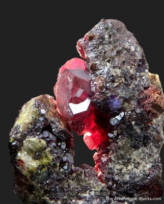 gem Cuprite crystal on Copper