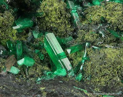 Cuprian Adamite - unusual elongated gem xls